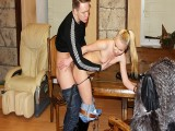 Easy-Going Blondie Gives Head To Two Guys